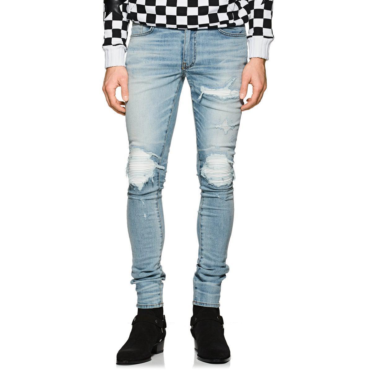 Mx1 Men Leather Inset Blue Amiri In For Slim Lyst Jeans 4jLAq35R