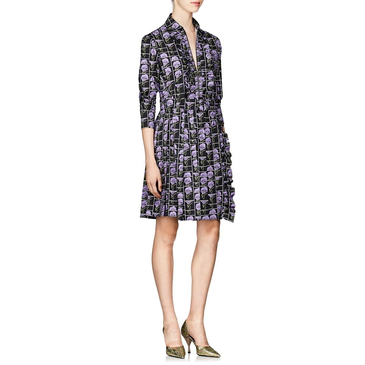 998054d9ccf Lyst - Prada Poppy-print Stretch-cotton Poplin Shirtdress in Purple