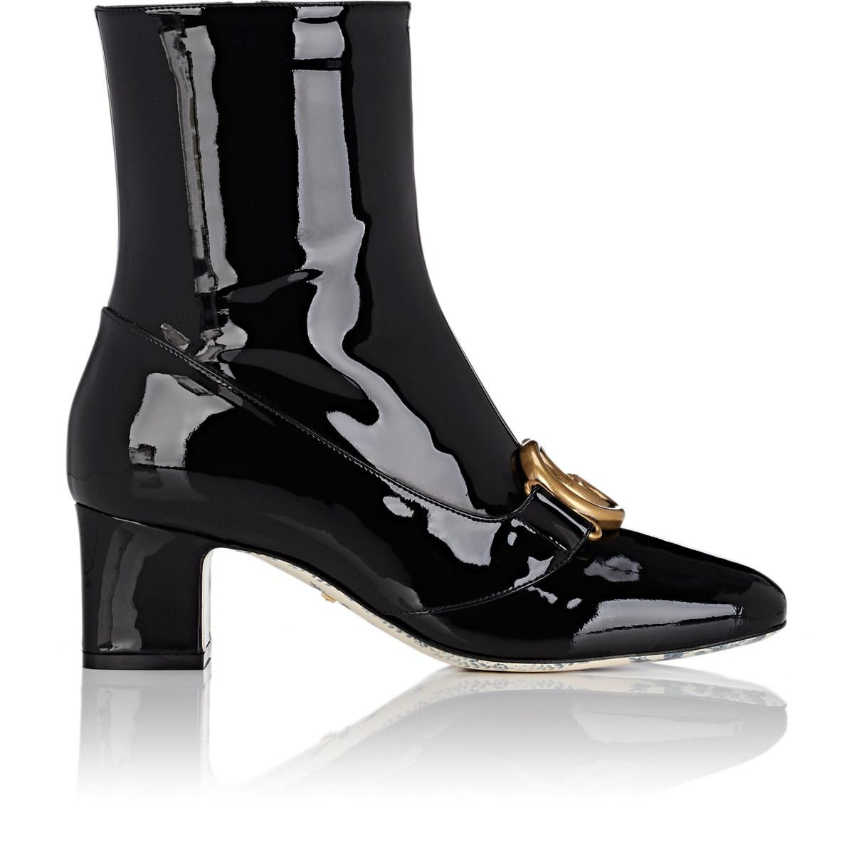 412681f687f Gucci Embellished Patent Leather Ankle Boots in Black - Save 28% - Lyst