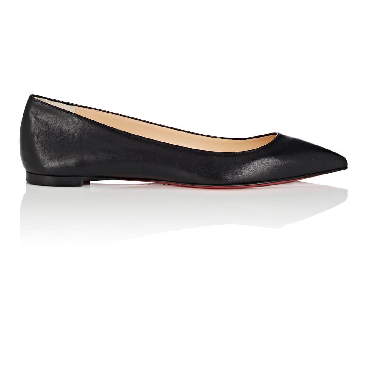 d9a29602513 Lyst - Christian Louboutin Ballalla Leather Flats in Black