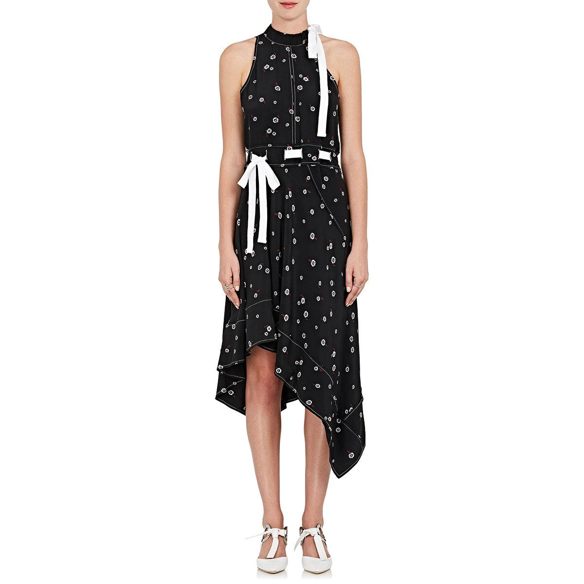 Footaction For Sale New Sale Online Proenza Schouler Woman Asymmetric Printed Silk-twill Dress White Size 6 Proenza Schouler Pictures Cheap Online ribdY8ALK