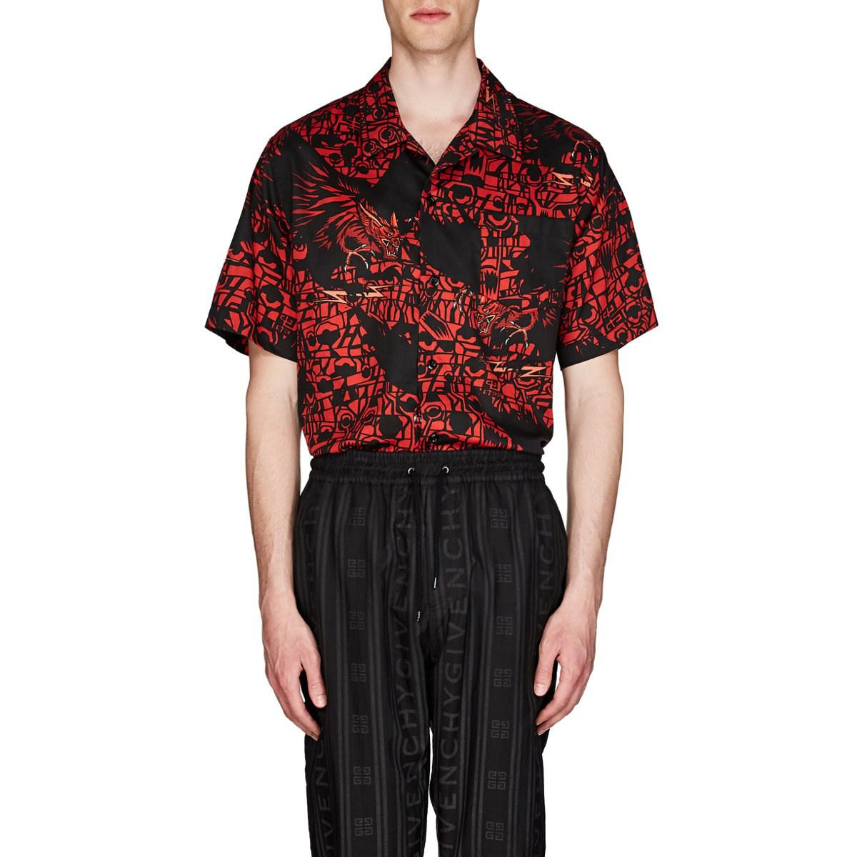 1a6b0662 Lyst - Givenchy Monster-print Cotton Bowling Shirt in Red for Men ...