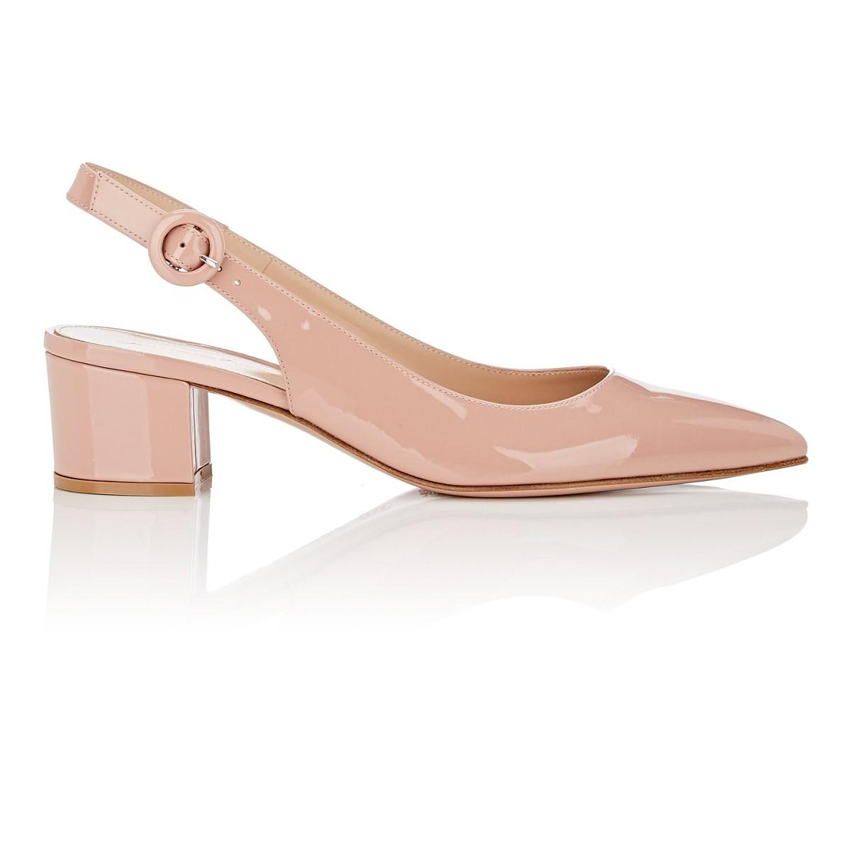 966258e21f9 Gianvito Rossi. Women s Pink Amee Patent Leather Siingback Court Shoes