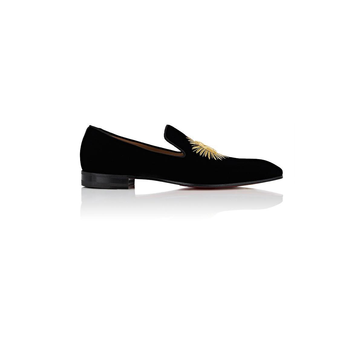 be4ead06e56e Christian Louboutin Morning Dandelion Velvet Slippers in Black for ...