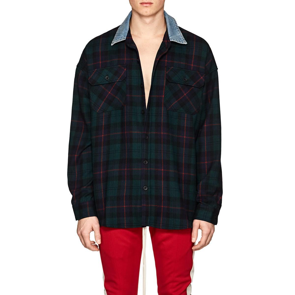 b68cd785c2 Lyst - Fear Of God Plaid Wool Flannel Oversized Shirt in Black for Men
