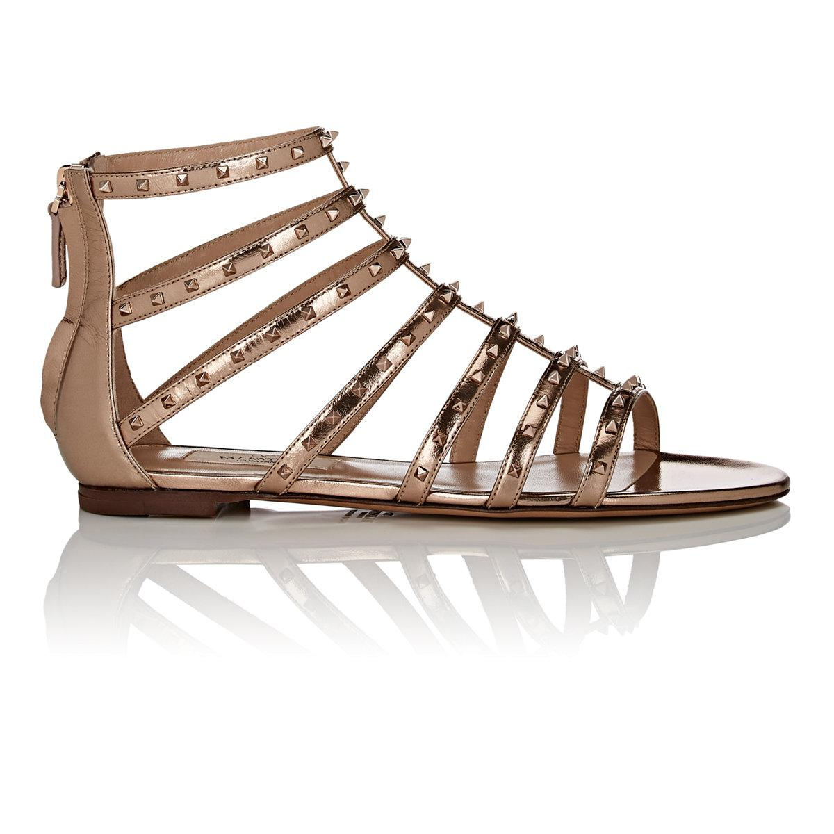 419e50faeabd Lyst - Valentino Lovestud Metallic Leather Caged Sandals in Metallic