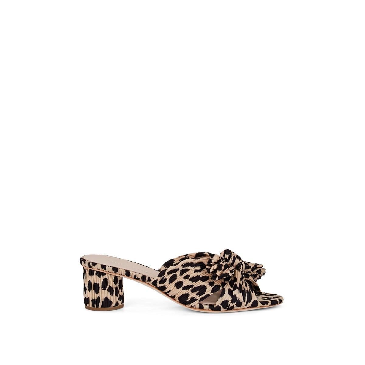 d7425a86a98f Loeffler Randall. Women's Natural Emilia Leopard-print Pleated Lamé Mules