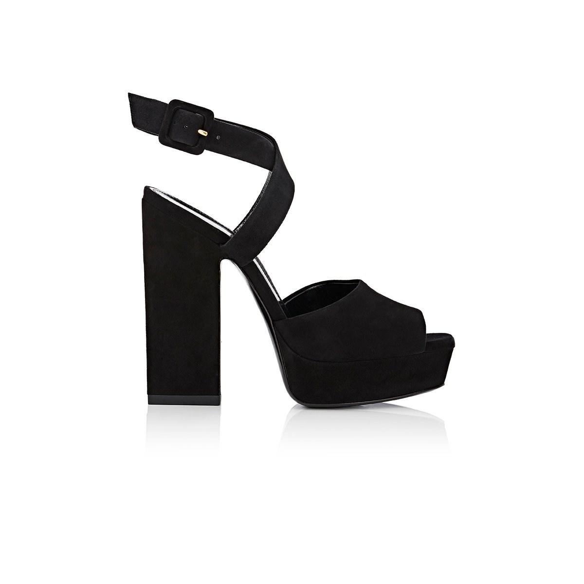 11c13f9f72b Saint Laurent Debbie Suede Platform Sandals in Black - Lyst