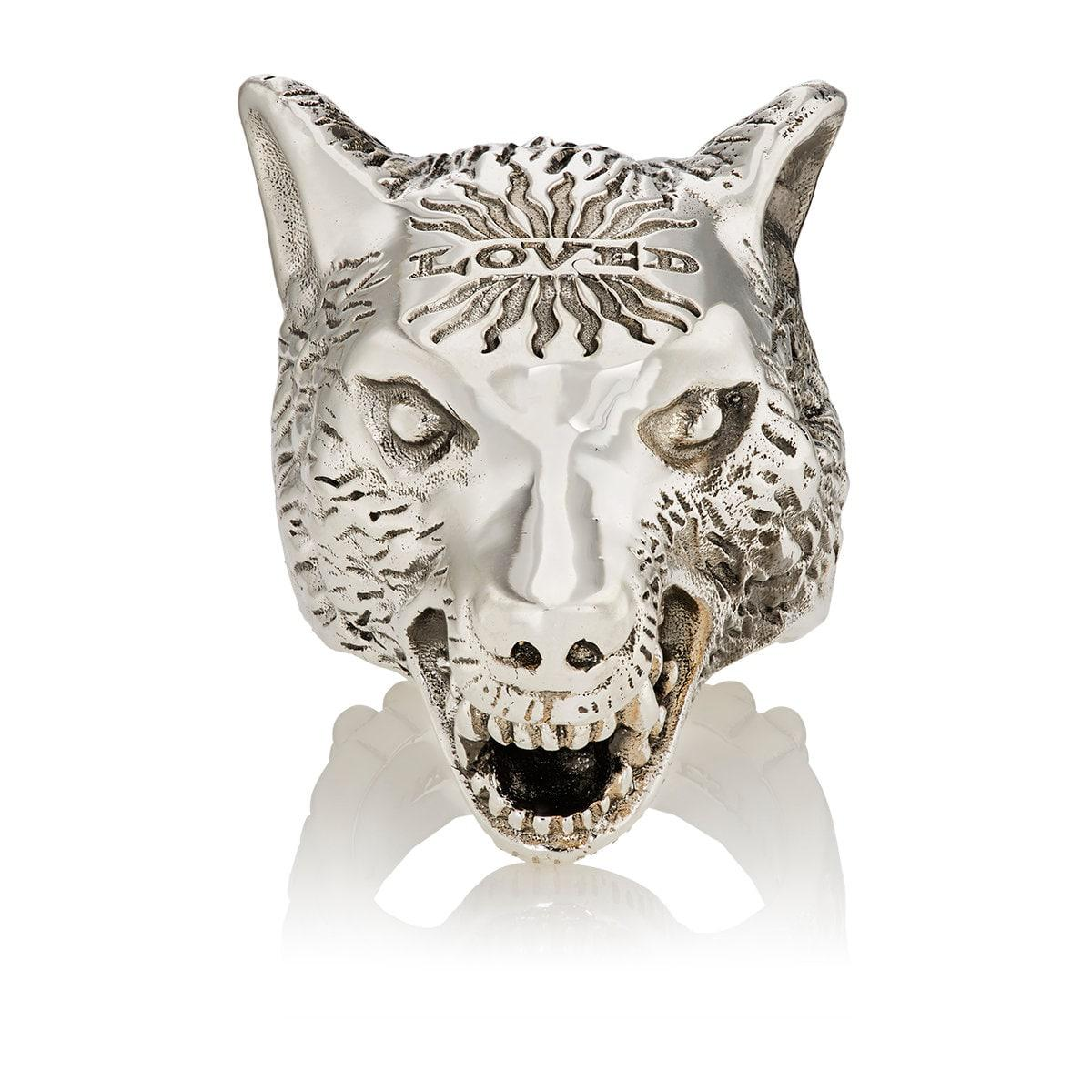 cba14c4f427a Lyst - Gucci Anger Forest Wolf Head Ring in Metallic for Men