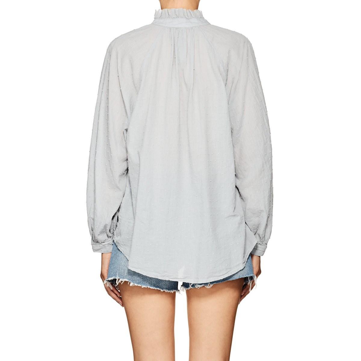 ad1048f5d5e3d7 Lyst - Raquel Allegra Swiss Dot Cotton Blouse Size 0 in Blue