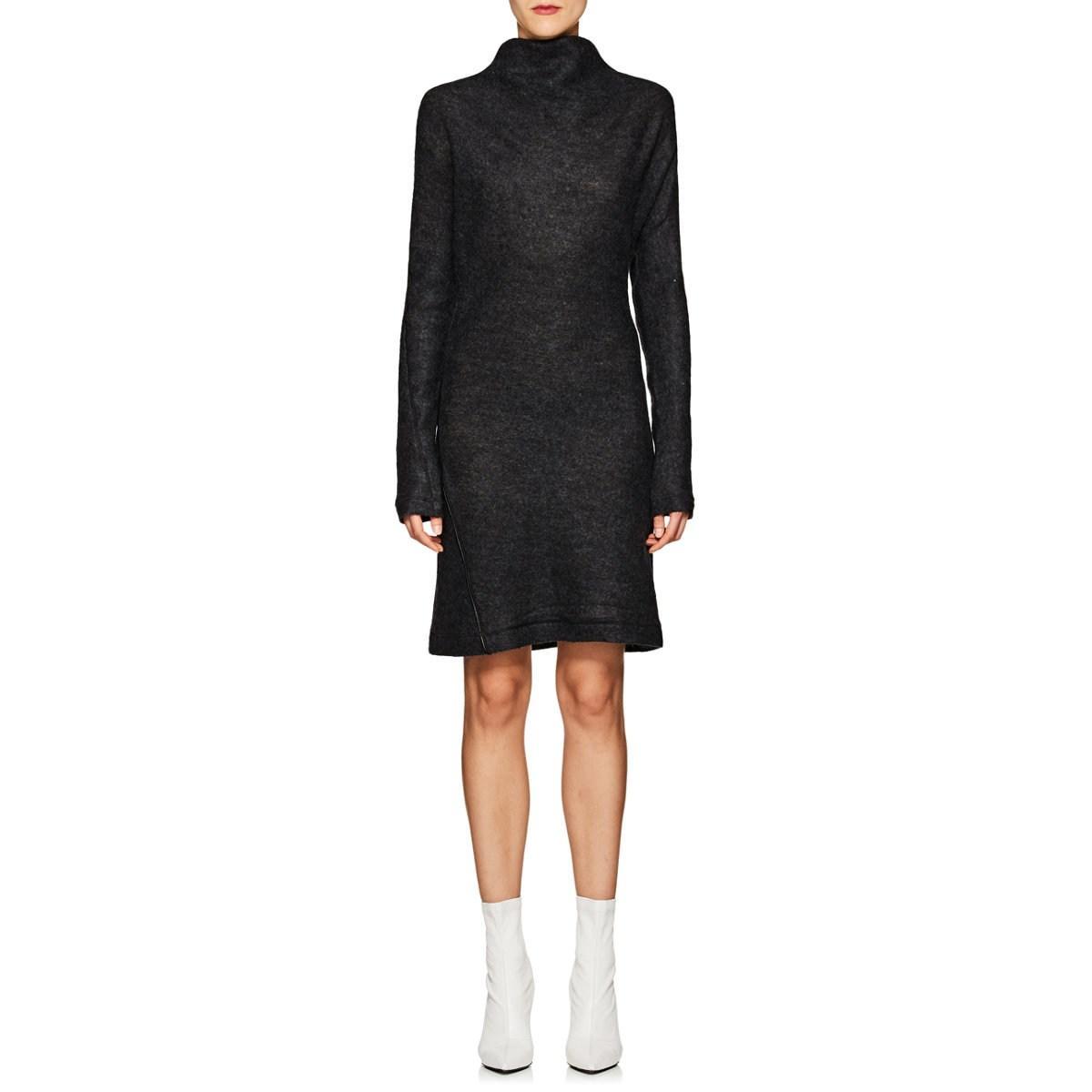 7d9b7d6518e Helmut Lang - Black Wool-blend Asymmetric Sweaterdress - Lyst. View  fullscreen