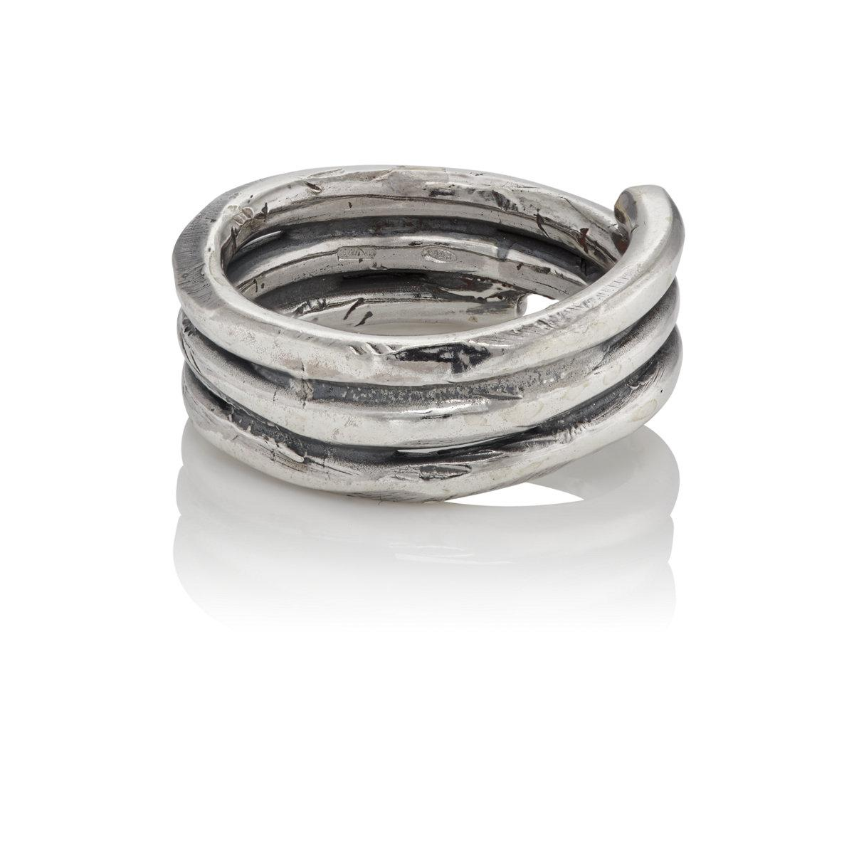 Emanuele Bicocchi Mens Sterling Silver Wrap Ring jFZqO