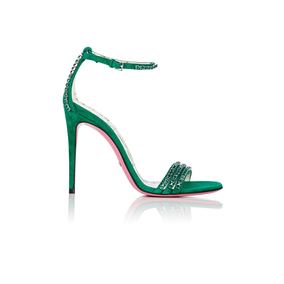 abe18f1fe276 Lyst - Gucci Ilse Suede Sandals in Green