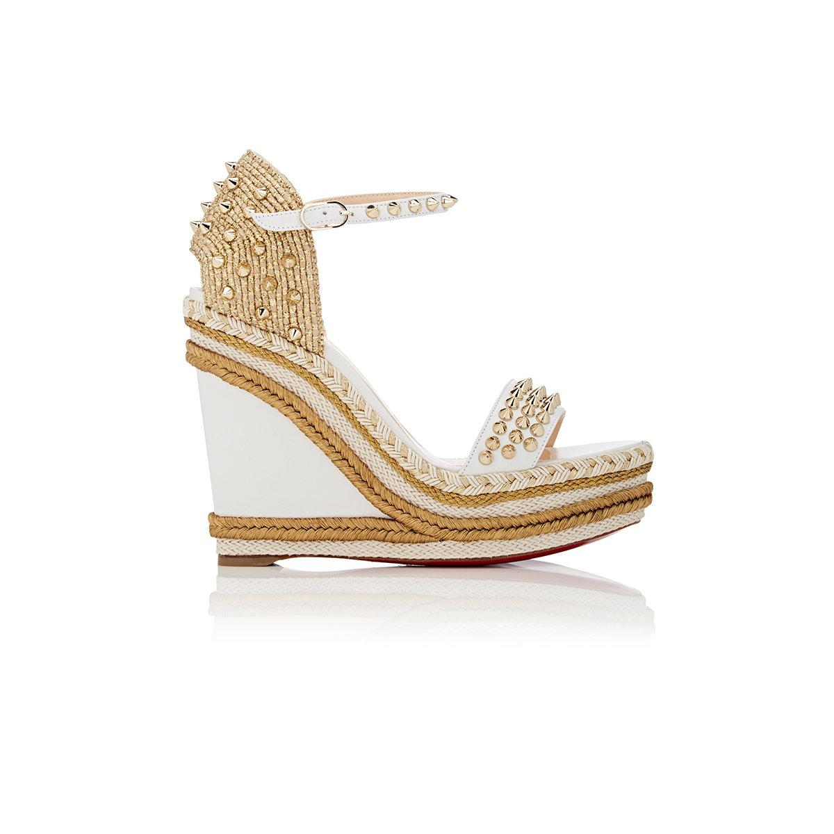 3612b6ede8 Christian Louboutin Madmonica Leather Wedge Espadrille Sandals in ...