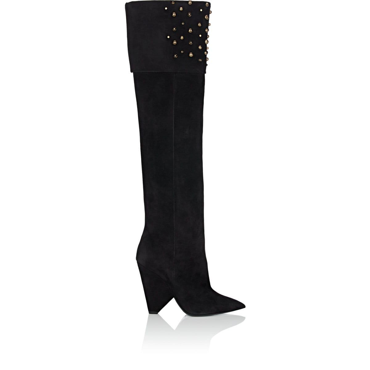 Saint Laurent Niki Studded Suede Knee Boots buy cheap factory outlet cl5YJiF
