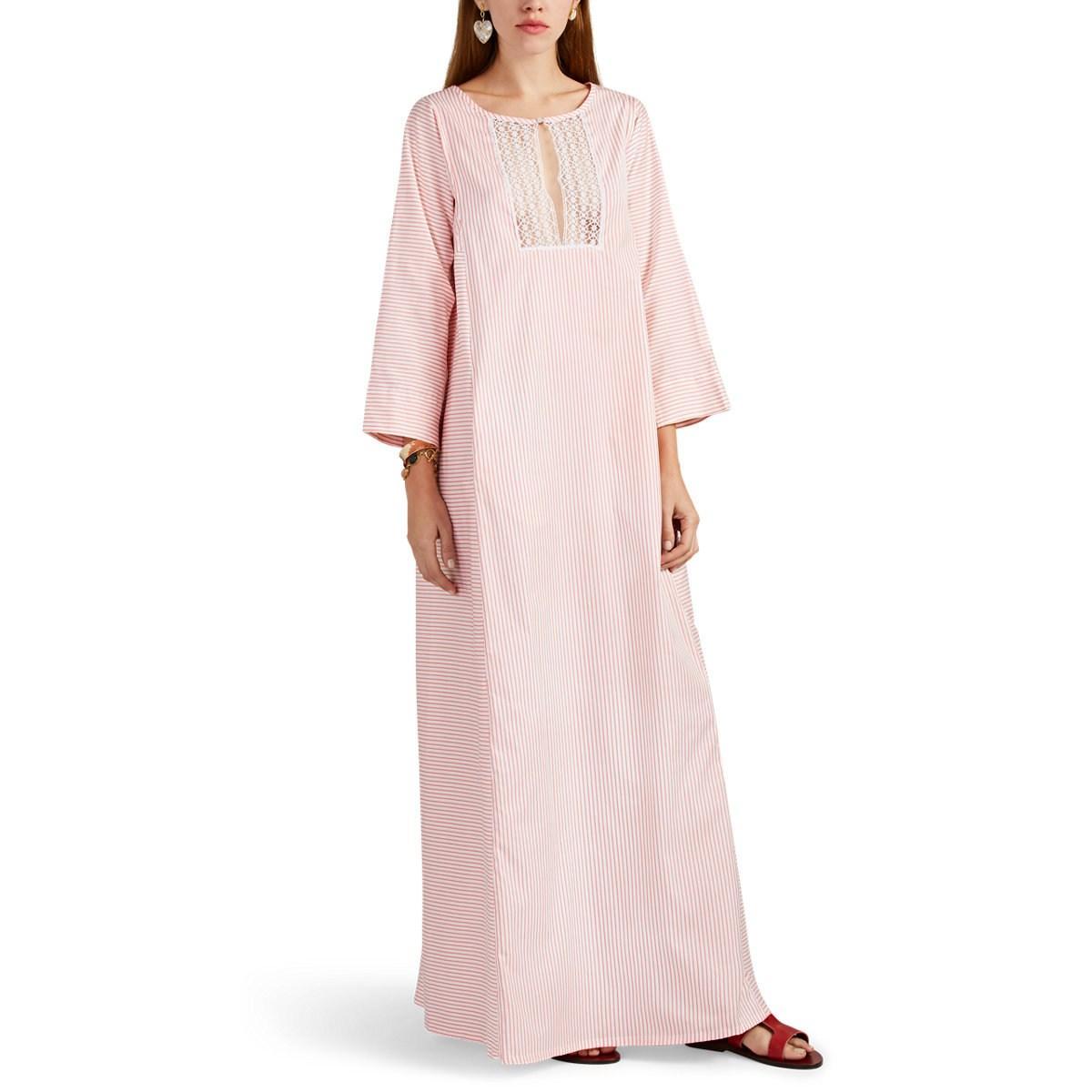 c00394273b Lyst - Thierry Colson Talitha Striped Cotton-silk Caftan in Pink