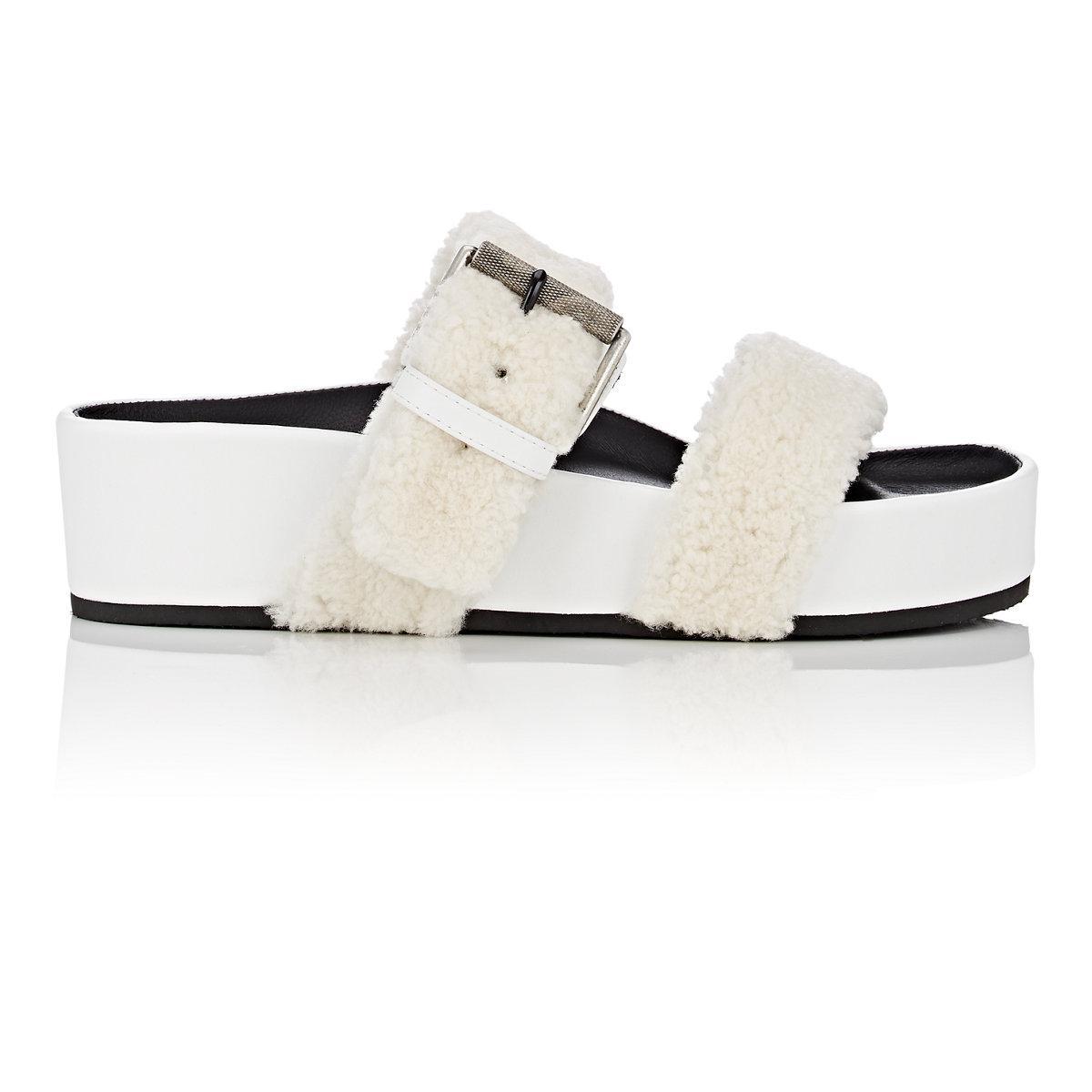 c6191173f60a Lyst - Rag   Bone Evin Shearling Platform Slide Sandals in White