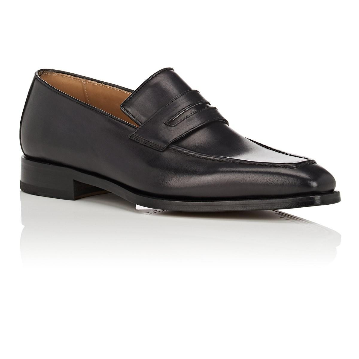 465d5ad16c084 Barneys New York - Black Burnished Leather Penny Loafers for Men - Lyst.  View fullscreen