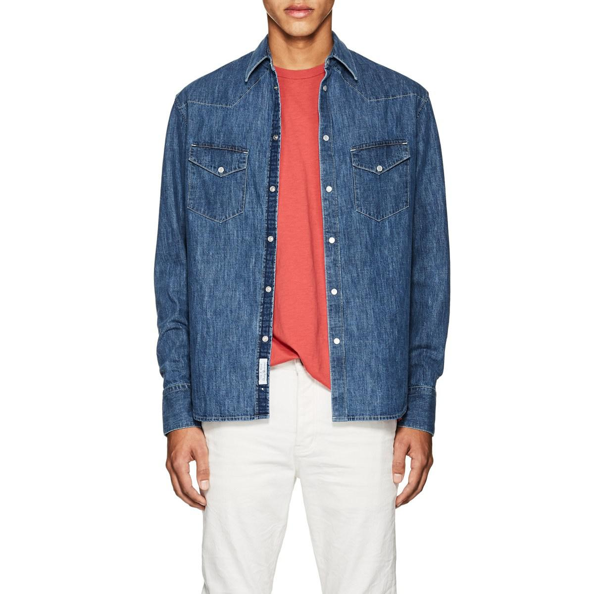 4b617d5c Rag & Bone Beck Denim Western Shirt in Blue for Men - Lyst