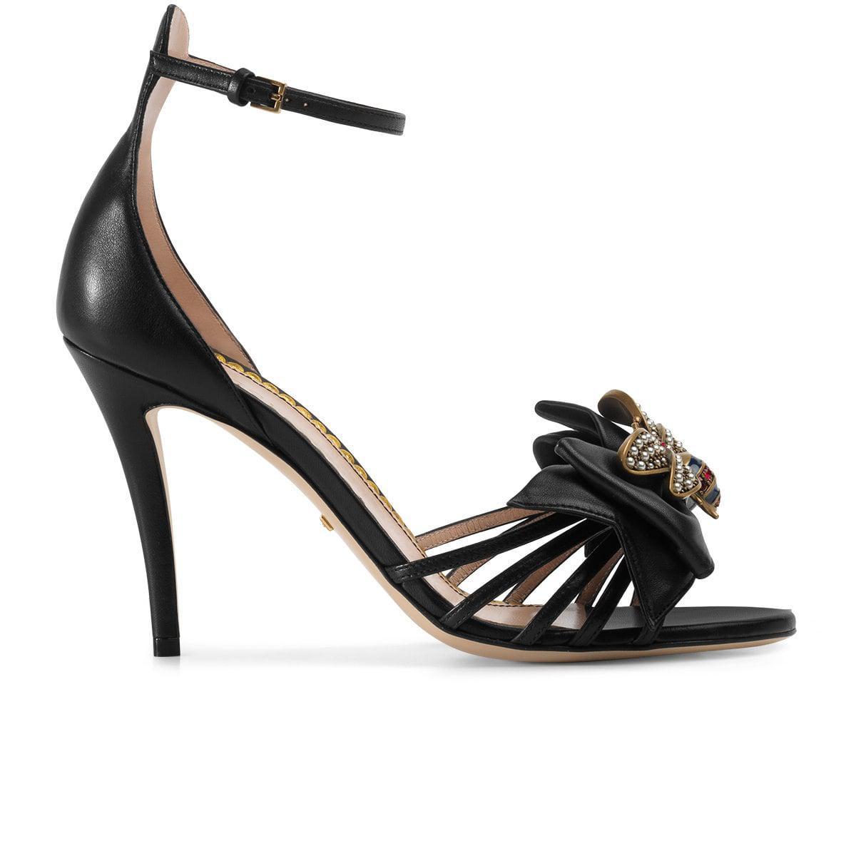 beceba060952 Gucci Embellished Leather Ankle-strap Sandals in Black - Save 26% - Lyst