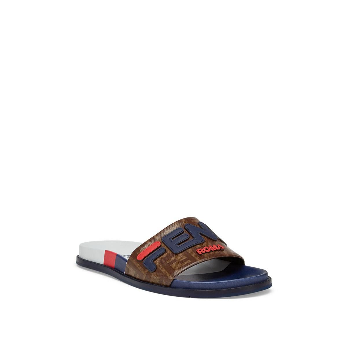 15b409583 Fendi - Blue Mania Rubber Slide Sandals for Men - Lyst. View fullscreen
