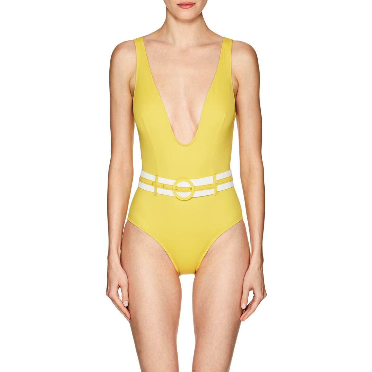 bf8e65a48623d Lyst - Solid   Striped Victoria Belted One-piece Swimsuit in Yellow