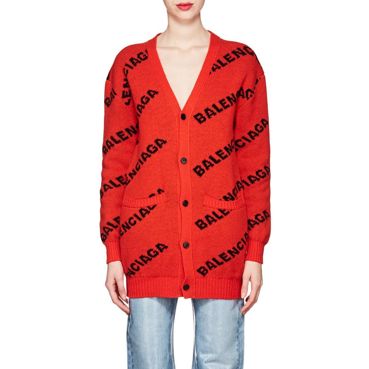 Balenciaga - Red Logo Jacquard Virgin Wool Blend Cardigan - Lyst. View  fullscreen 48ce9ea16