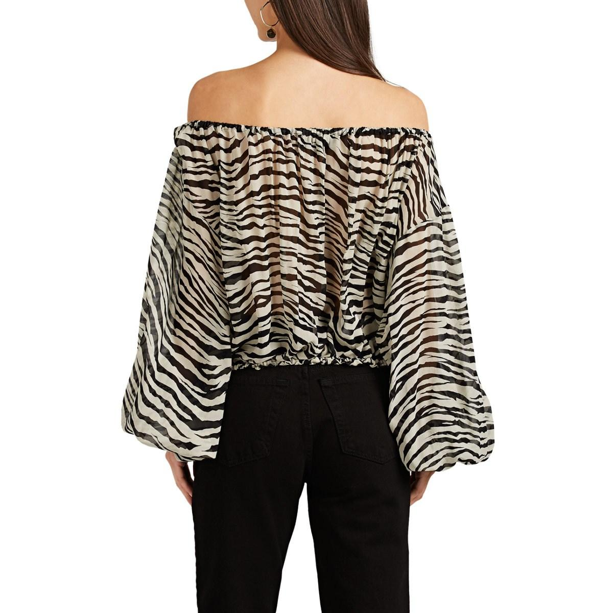 1c659926d7a Nili Lotan Roxie Tiger-print Silk Off-the-shoulder Blouse in Black ...