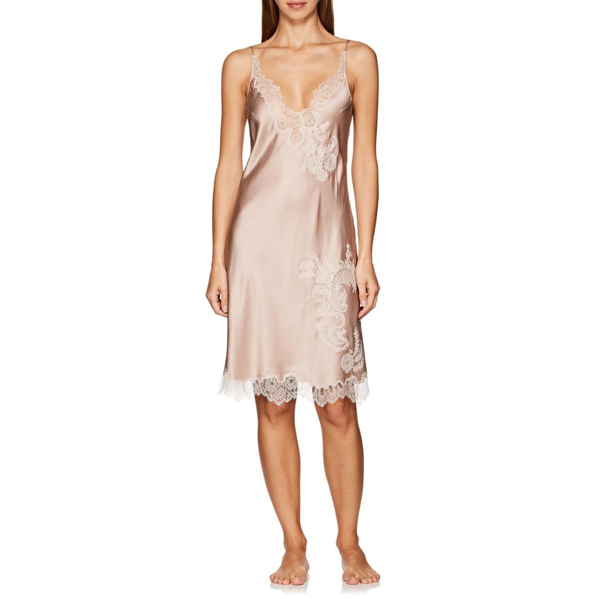 de7c5e6e0092c Carine Gilson Lace-trimmed Silk Chemise in Pink - Lyst