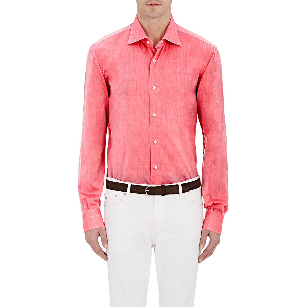Lyst isaia poplin shirt in pink for men for Mens pink shirts uk