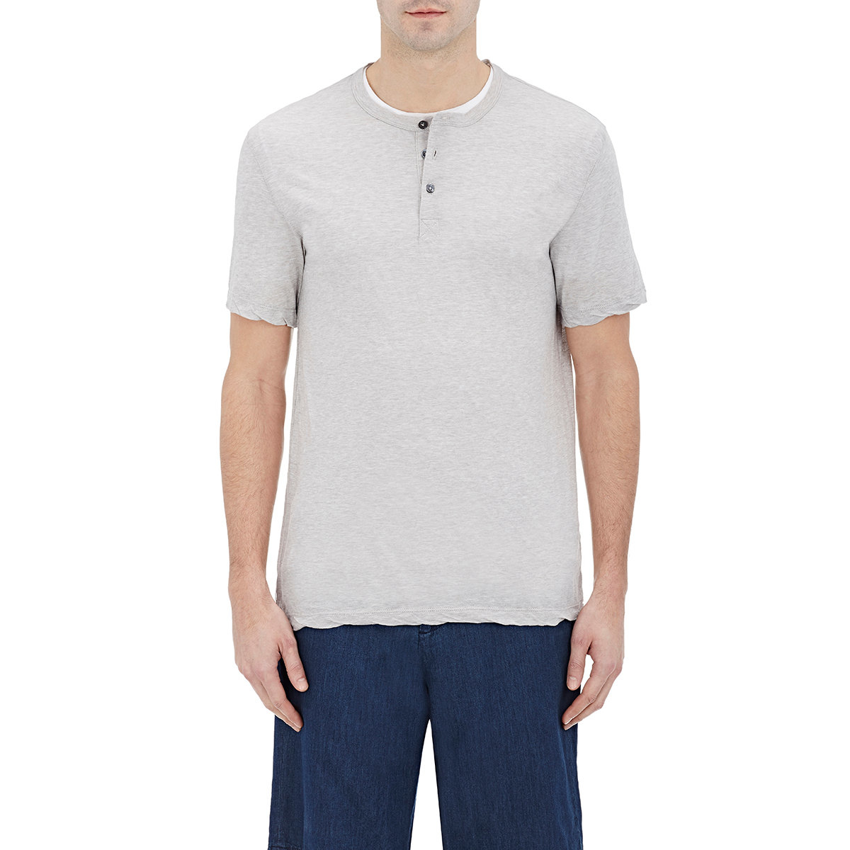 Lyst james perse short sleeve henley in gray for men for James perse henley shirt