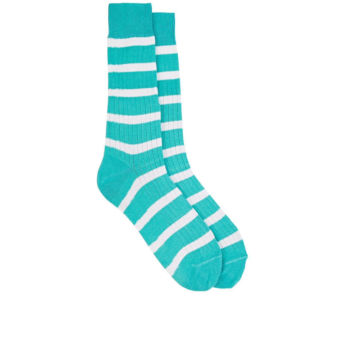 Green Rugby Socks: Barneys New York Men's Rugby-striped Mid-calf Socks In