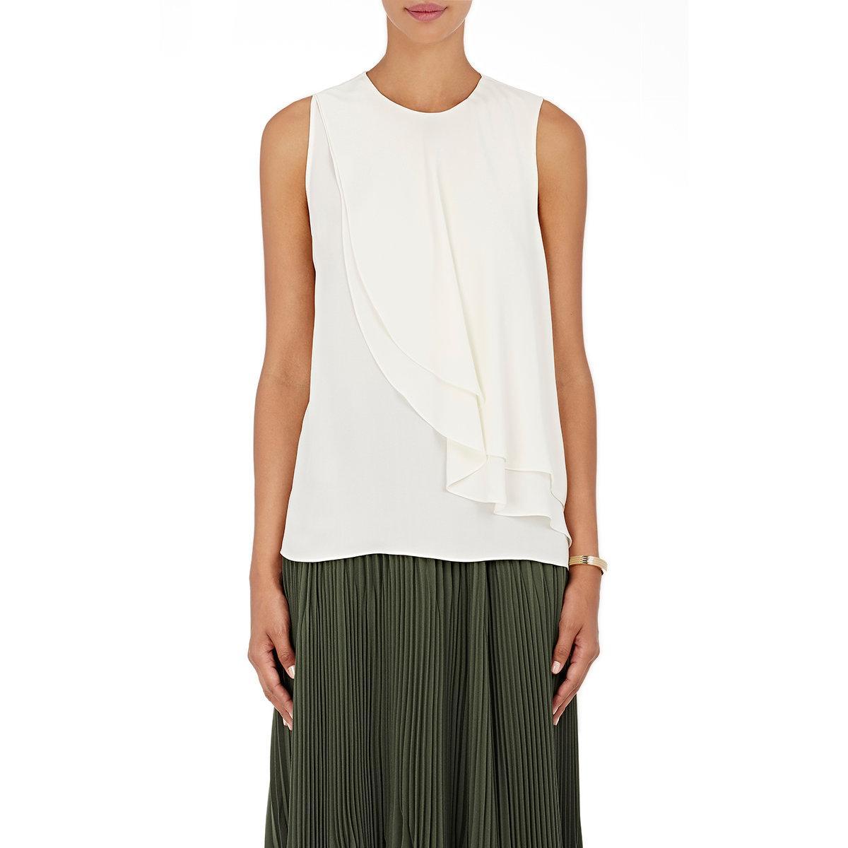 0082353e65d7d Lyst - Theory Elmali Silk Georgette Top in White