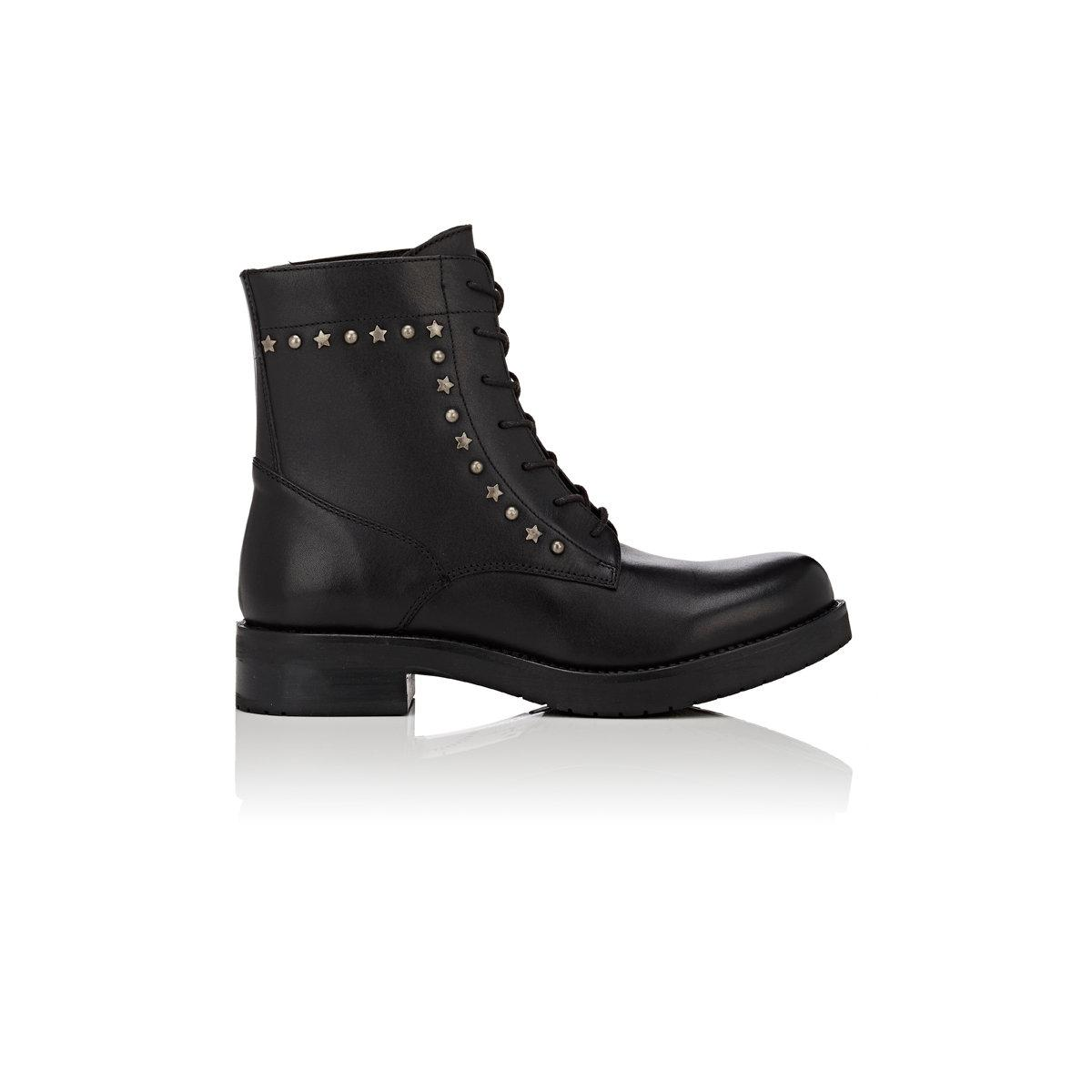 barneys new york studded leather combat boots in black lyst
