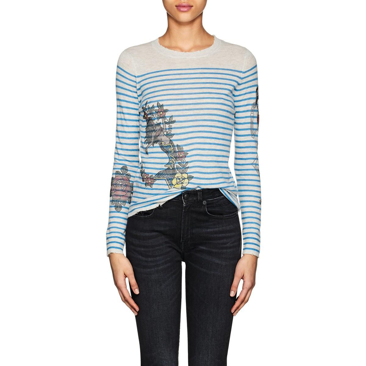 3d5a0a99831204 Zadig & Voltaire Miss Striped Cashmere Sweater in Blue - Lyst