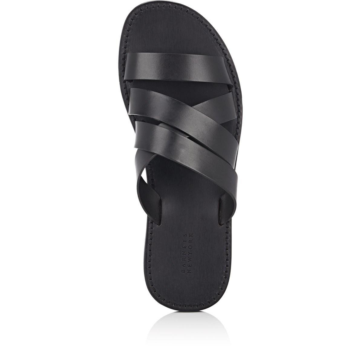 c83126a54 Lyst - Barneys New York Leather Slide Sandals in Black for Men