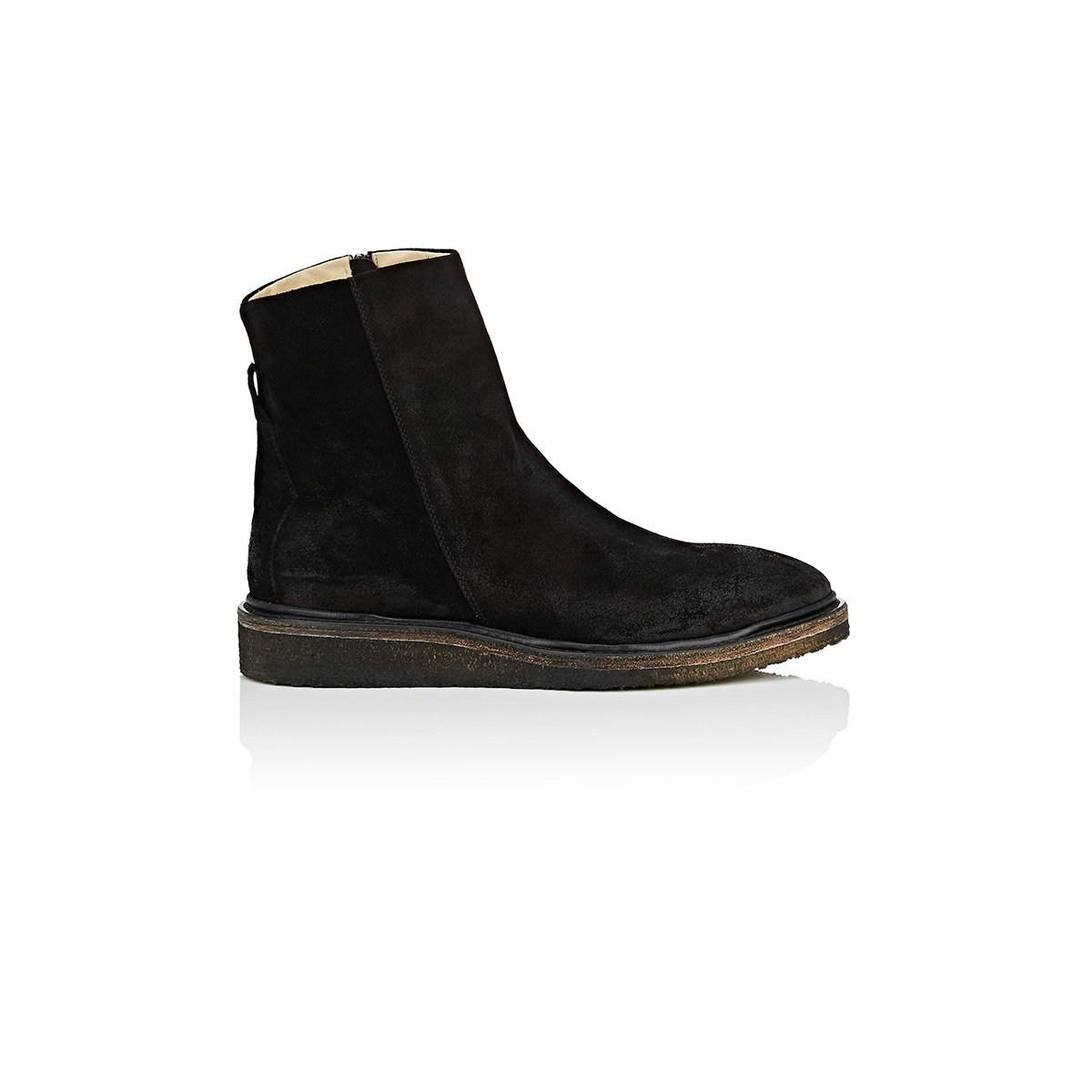 30454b185c96 Barneys New York - Black Crepe-sole Oiled Suede Boots for Men - Lyst. View  fullscreen