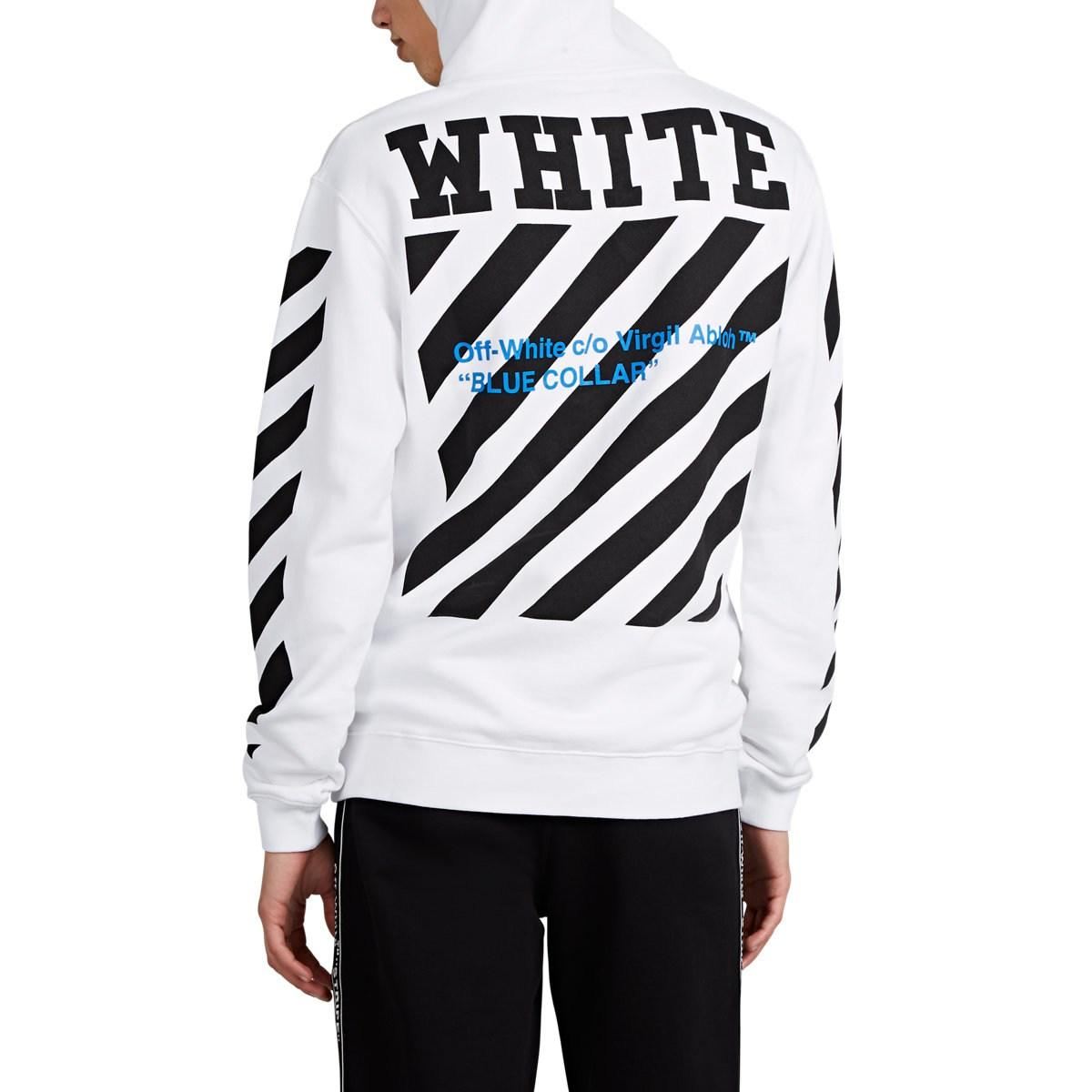 Lyst - Off-White c o Virgil Abloh blue Collar Logo-print Cotton ... fc91cfe0f