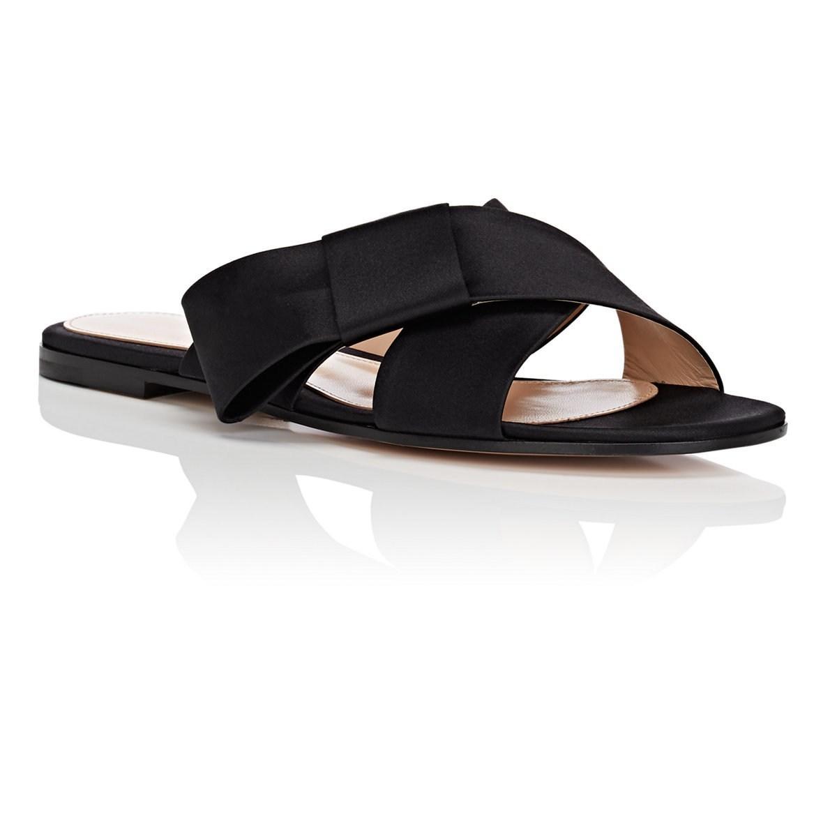 448e9c3bb Lyst - Gianvito Rossi Obi Bow-detailed Satin Sandals in Black
