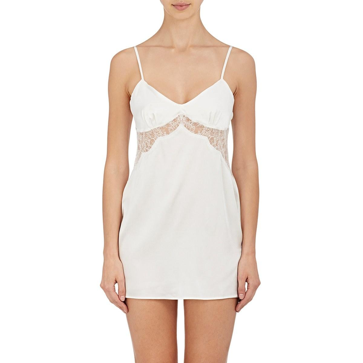 Lyst - Gilda   Pearl Gilda Lace-inset Satin Slip in White 7a6a0d3cf