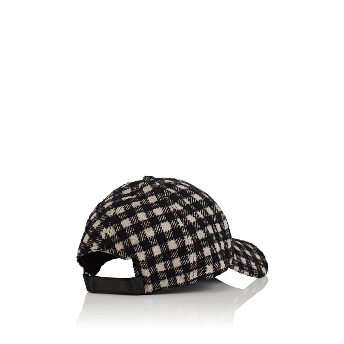 c4608b9ad6 Barneys New York Plaid Virgin Wool-blend Baseball Cap in Black for ...