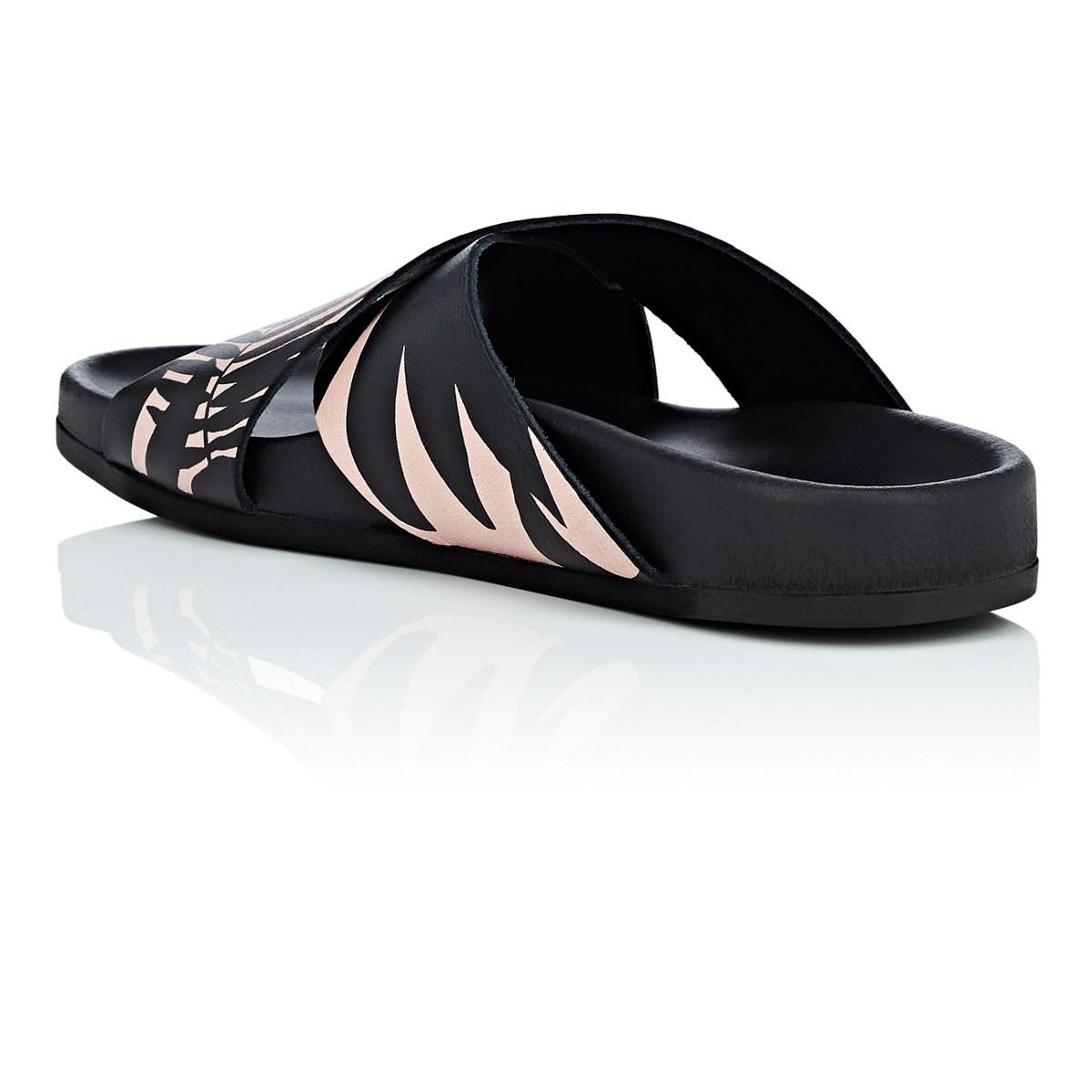 393c628c2a10 Barneys New York - Black Floral Leather Slide Sandals Size 9 - Lyst. View  fullscreen