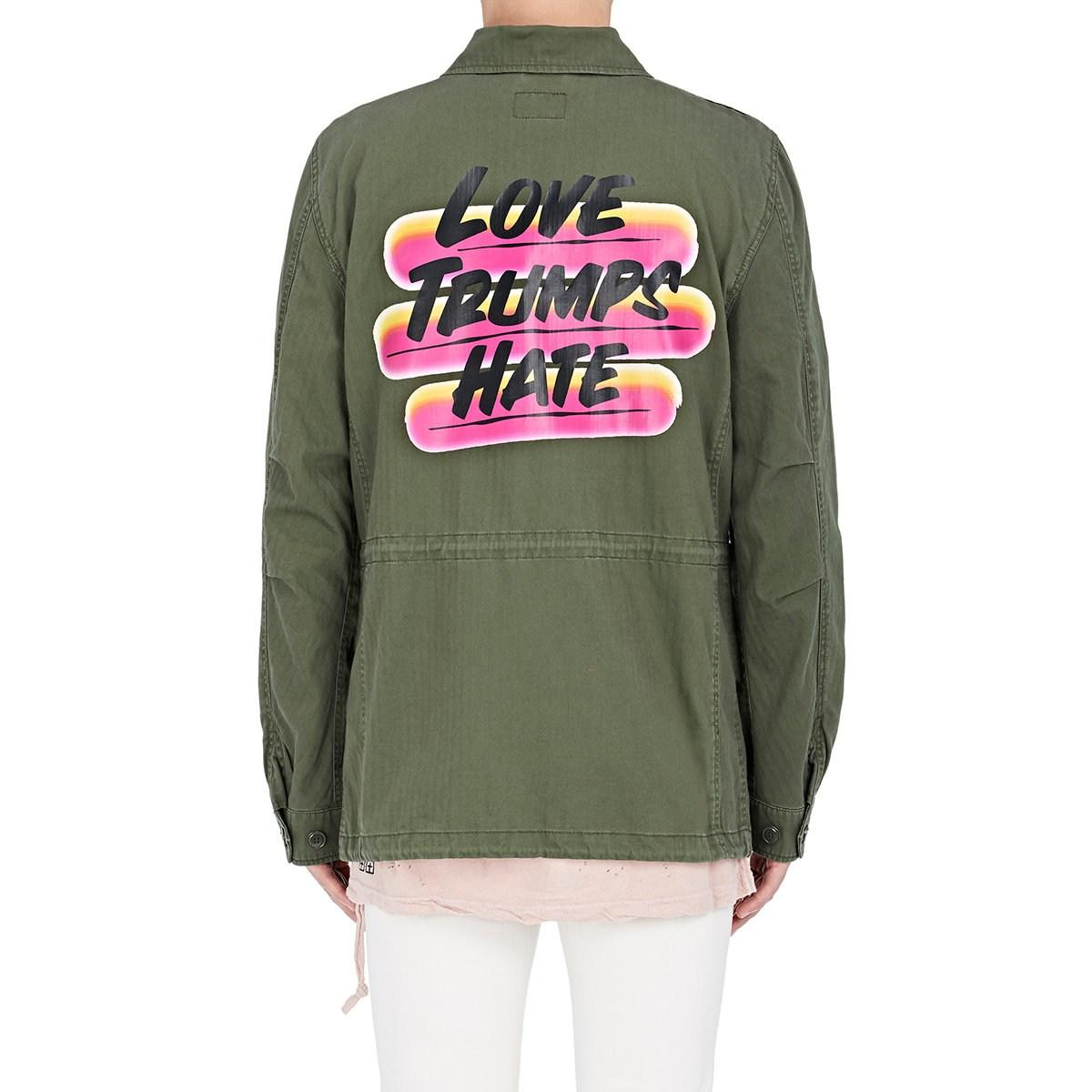 1cb34ff3 Alpha Industries M-65 Defender love Trumps Hate Field Jacket in ...