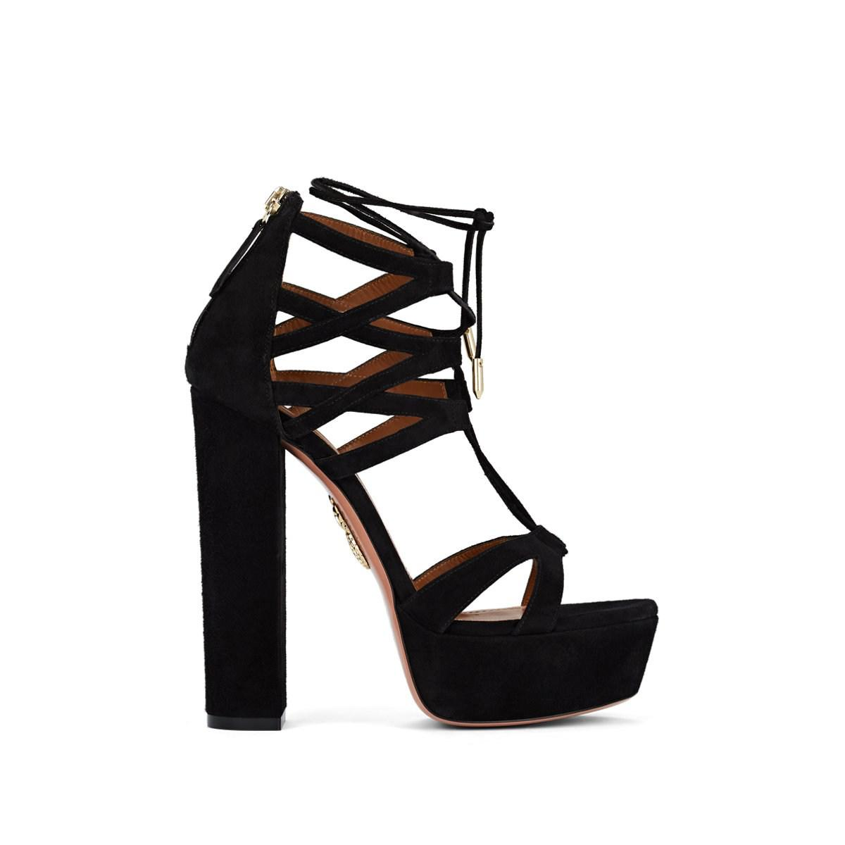 b71995948439 Lyst - Aquazzura Beverly Hills Suede Ankle-tie Platform Sandals in Black