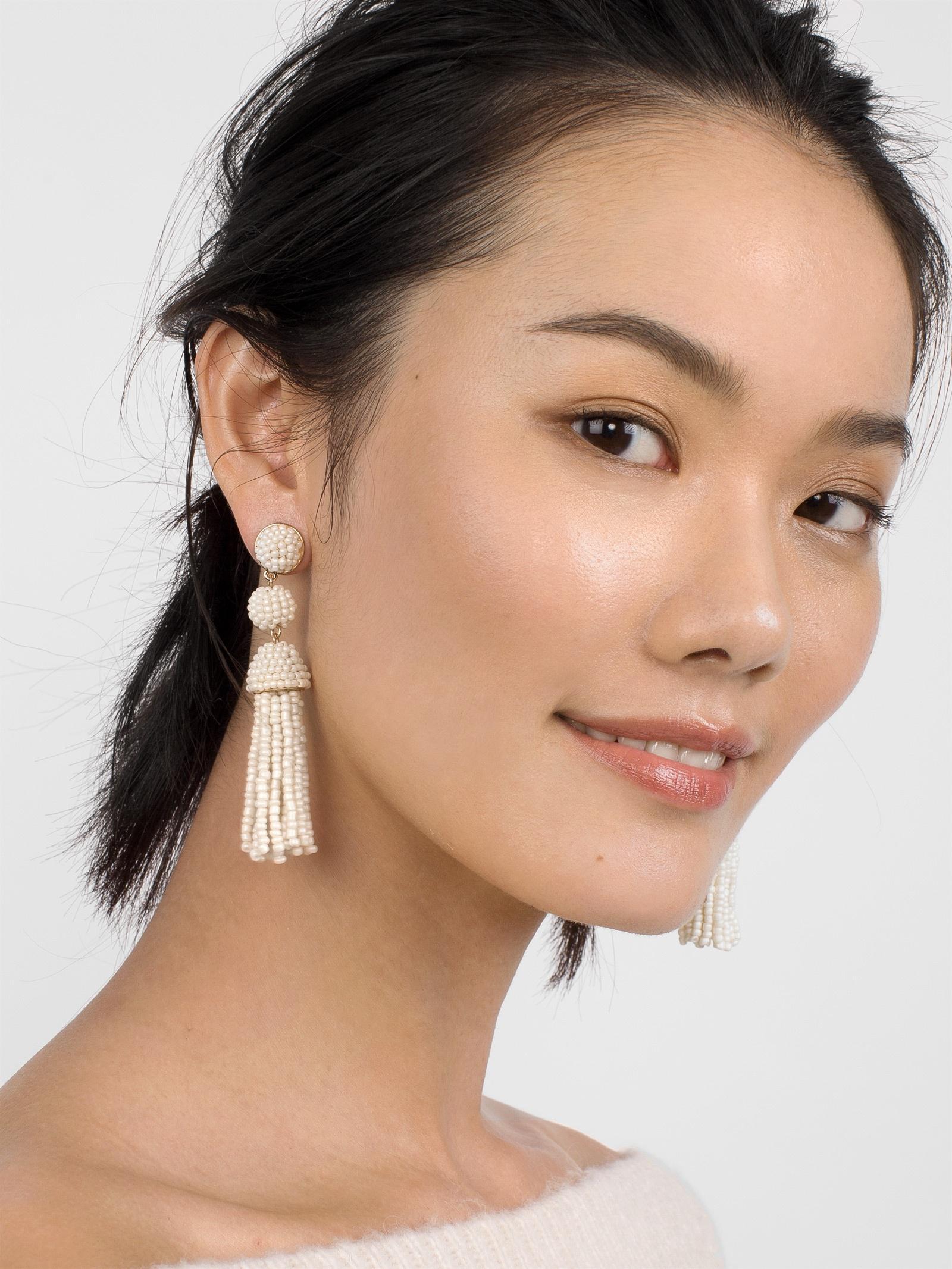 e7b315ab5 BaubleBar Mini Granita Tassel Earrings in White - Lyst