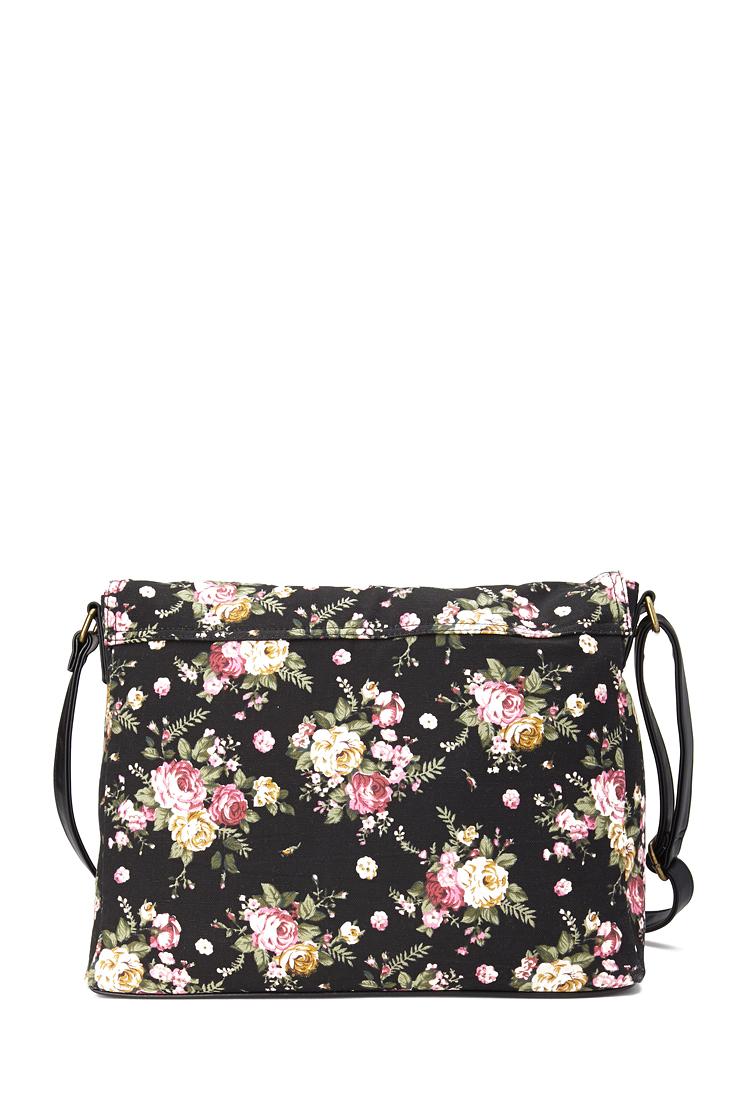 Forever 21 Floral Canvas Messenger Bag In Black | Lyst