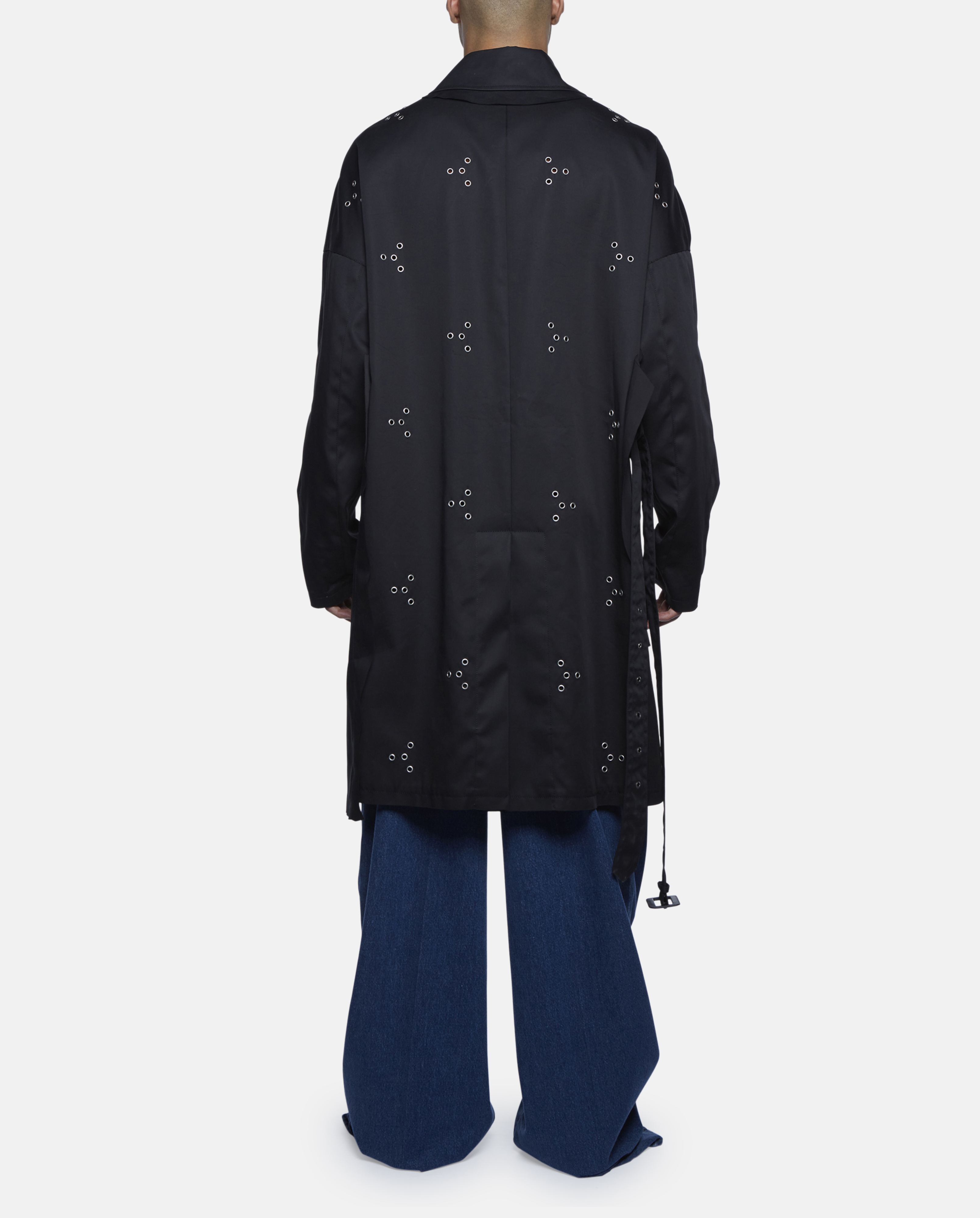 Lyst Raf Simons Black Coat With All Over Eyelet In Black