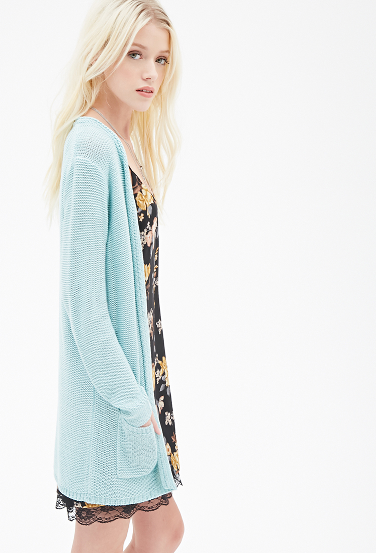 Forever 21 Longline Ribbed Cardigan in Blue | Lyst