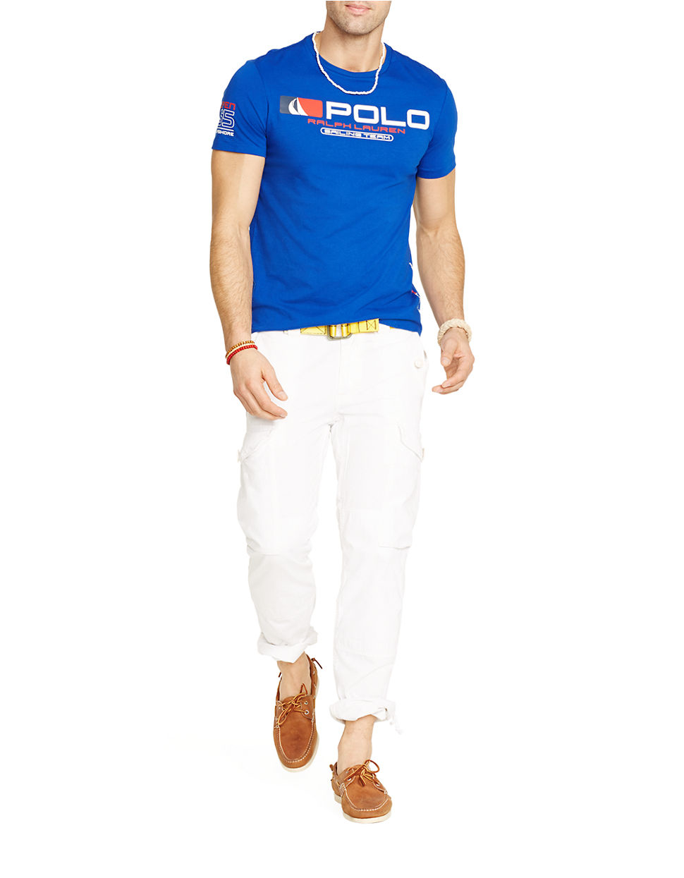 polo ralph lauren sailing team graphic t shirt in blue for men lyst. Black Bedroom Furniture Sets. Home Design Ideas