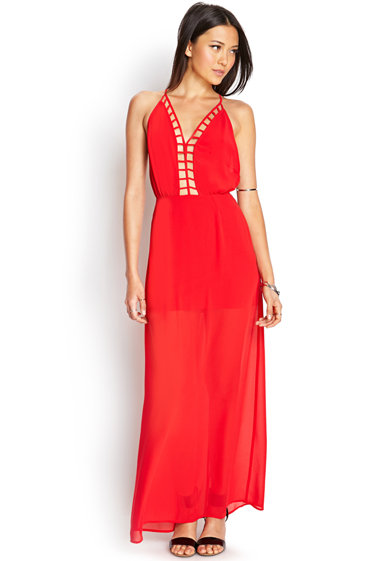 Forever 21 Caged Maxi Dress in Red | Lyst